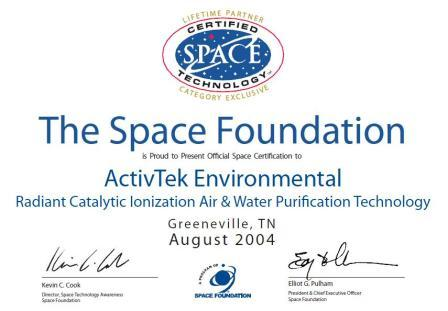 Сертифікат Space Technology activTek Environmental